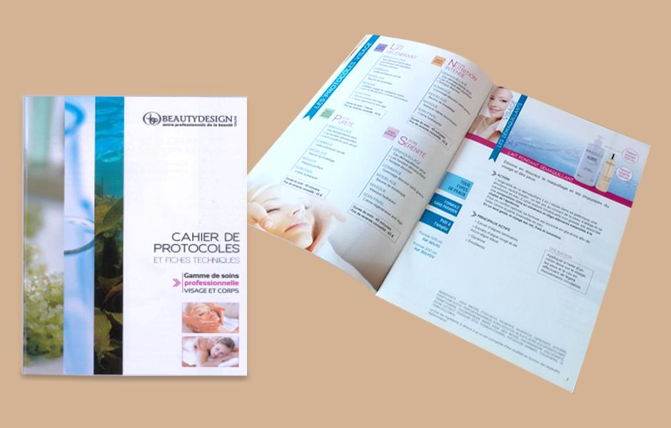 Graphisme print cahier de protocoles de soins esthétique