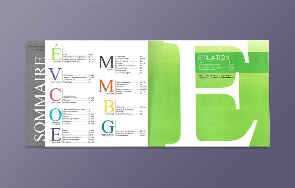 Catalogue pour les instituts de beauté, page de rubrique.
