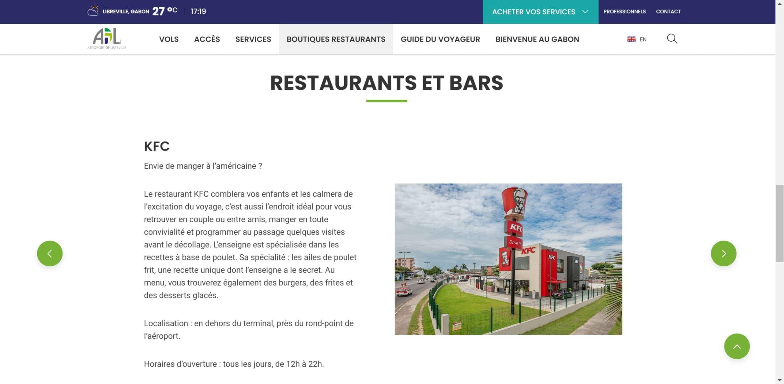 Contenu site web de l'aéroport de Libreville