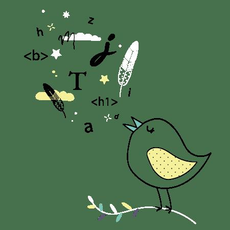 Illustration avec oiseau représentant le copywriting