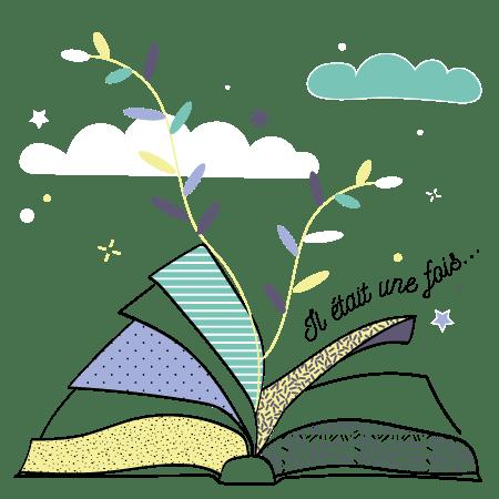Illustration de livre ouvert représentant le Storytelling