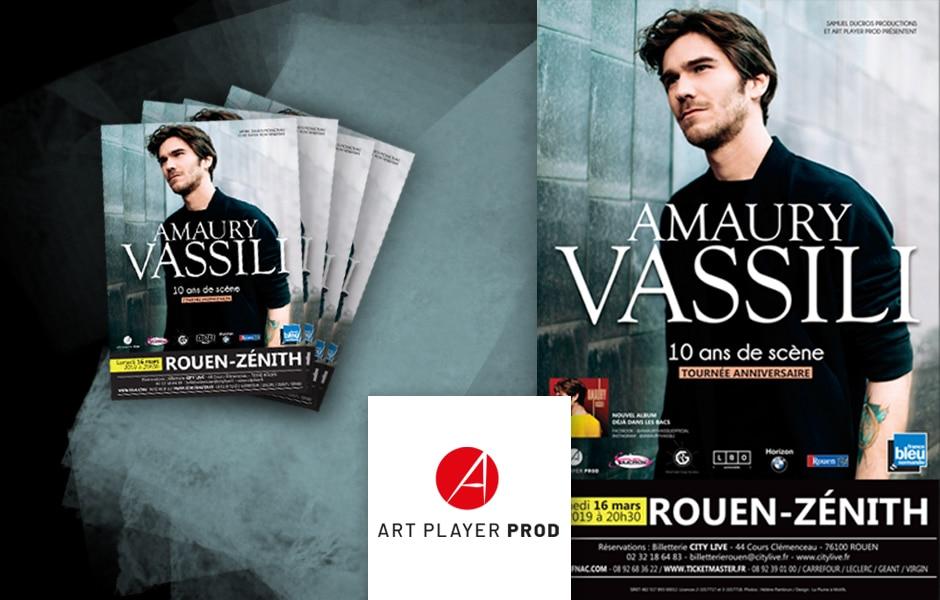 Affiche et flyers spectacle Amaury Vassili